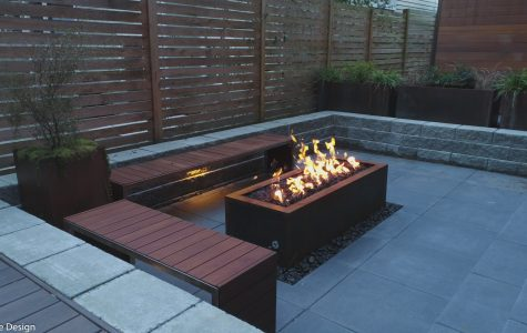 Custom steel natural gas fire pit.